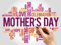Nuage de mot du jour de mère, soin, amour, famille Photos stock