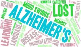 Nuage de mot du ` s d'Alzheimer sur un fond blanc Images libres de droits