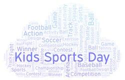 Nuage de mot de jour de sports d'enfants photographie stock