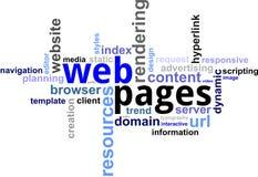 Nuage de mot - pages Web Images stock