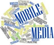 Nuage de mot pour des medias mobiles Images stock