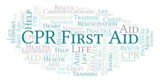 Nuage de mot de premiers secours de CPR, fait avec le texte seulement illustration stock
