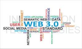 Nuage de mot - Web 3.0 Images stock
