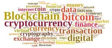 Nuage de mots avec Blockchain Images stock