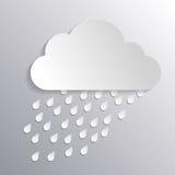 Nuage de papier avec la pluie Photo stock