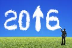 Nuage de pulvérisation de forme du blanc 2016 d'homme d'affaires avec l'herbe de ciel bleu Photographie stock