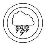 nuage de silhouette avec l'icône de rayon Images stock