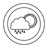 nuage de silhouette rainning avec l'icône du soleil Photos libres de droits
