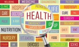 Nuage de tags de santé Photos stock