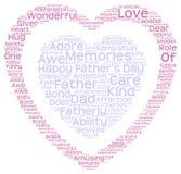 Nuage de tags du jour de père dans la double forme de coeur Photo stock