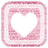 Nuage de tags du jour de père dans la forme de coeur dans une boîte Image libre de droits