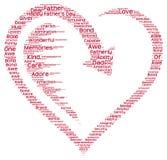 Nuage de tags du jour de père dans une forme de coeur Photos libres de droits