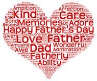 Nuage de tags du jour de père sous forme de coeur rouge Photos stock