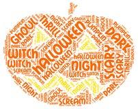 Nuage de tags lumineux coloré de Halloween formé par potiron Word Photos libres de droits