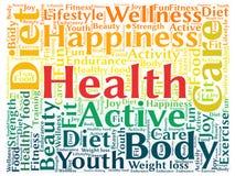 Nuage de tags rectangulaire au sujet de santé Photos libres de droits