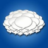 nuage de tempête de bulles de la causerie 3d sur le fond bleu Photographie stock
