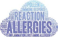 Nuage de Word d'allergies Photo libre de droits
