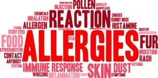 Nuage de Word d'allergies Photos stock