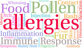 Nuage de Word d'allergies Photo libre de droits