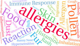 Nuage de Word d'allergies Images stock
