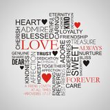 Nuage de Word d'amour et d'amitié Image libre de droits
