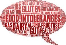 Nuage de Word d'intolérances de nourriture Photos libres de droits