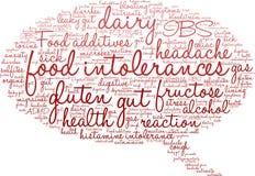 Nuage de Word d'intolérances de nourriture Images stock