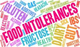 Nuage de Word d'intolérances de nourriture Photo stock