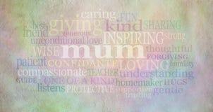 Nuage de Word de maman sur le parchemin Images libres de droits