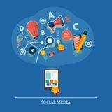 Nuage des icônes d'application. Media social Images stock