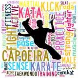 Nuage des textes des arts martiaux avec la forme Image libre de droits