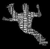 Nuage des textes des arts martiaux avec la forme Photo libre de droits