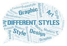 Nuage différent de mot de styles illustration de vecteur