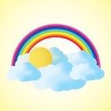 Nuage et arc-en-ciel avec l'espace des textes Images libres de droits