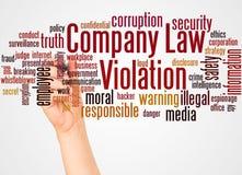Nuage et main de mot de violation de droit des sociétés avec le concept de marqueur illustration libre de droits