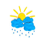 Nuage et soleil de pluie faits à partir de la pâte à modeler Image stock