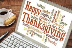 Nuage heureux de mot de thanksgiving Photographie stock libre de droits