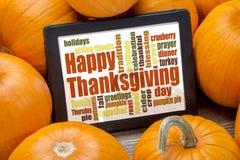 Nuage heureux de mot de thanksgiving Photos stock