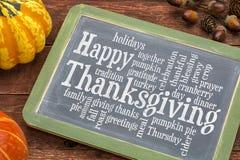 Nuage heureux de mot de thanksgiving sur le tableau noir Photos stock