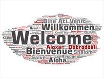 Nuage international de mot de salutation d'accueil de vecteur dans différentes langues illustration libre de droits
