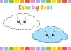 Nuage Livre de coloriage pour des enfants Caractère gai Illustration de vecteur Style mignon de bande dessinée Tiré par la main P illustration stock