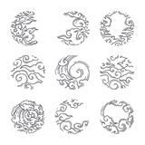 Nuage oriental dans l'icône de cadre de forme ronde japonais thaï illustration de vecteur