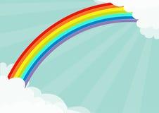 Nuage pelucheux dans le calibre de cadre de coins Arc-en-ciel dans le ciel Cloudshape Soleil d'éclat de rayons légers de Sun Temp illustration libre de droits