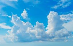 Nuage pelucheux de grand cumulus à la lumière du soleil lumineuse Photos stock