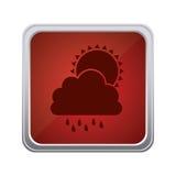 nuage rouge d'emblème rainning avec l'icône du soleil Photos stock