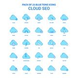 Nuage SEO Blue Tone Icon Pack - 25 ensembles d'icône illustration de vecteur