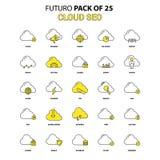 Nuage SEO Icon Set Plus défunt paquet jaune d'icône de conception de Futuro illustration libre de droits