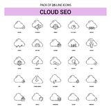 Nuage SEO Line Icon Set - style à tiret d'ensemble 25 illustration stock