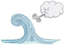Nuage soufflant Windy Tidal Wave Cartoon illustration de vecteur