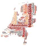 Nuage supérieur néerlandais de mot de destinations de voyage Photos stock